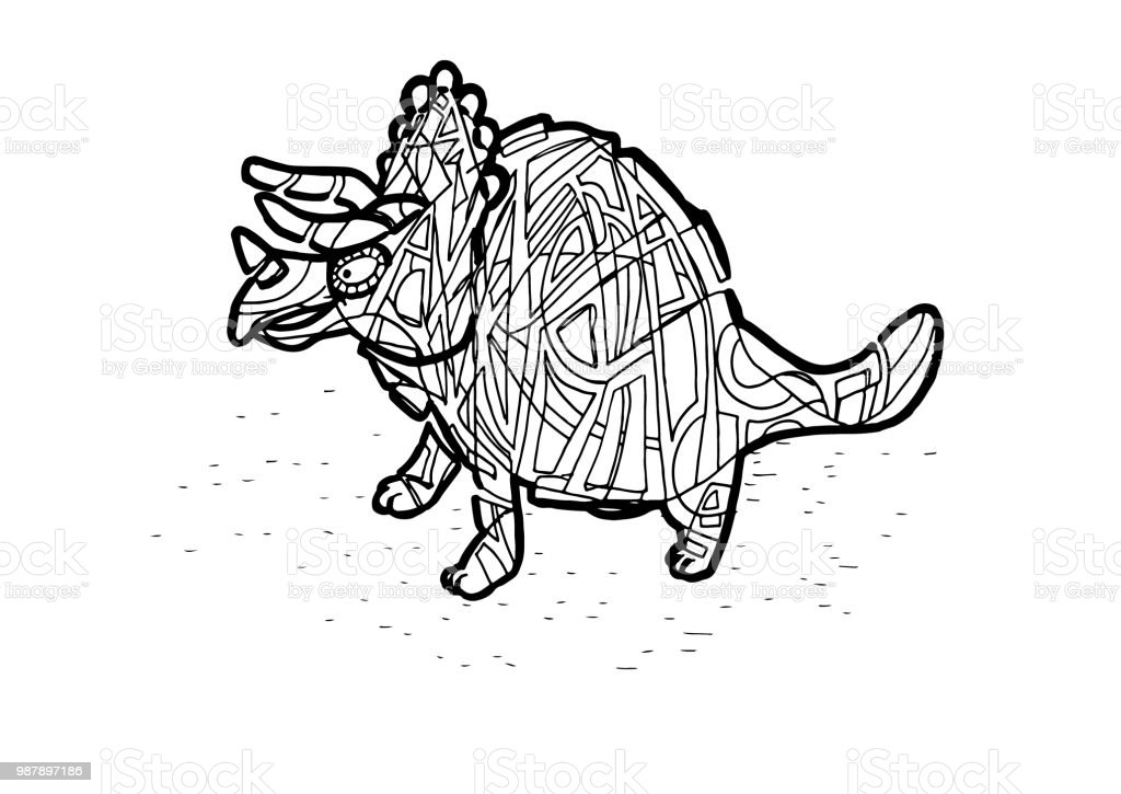 Triceratops Dinosaurier Malvorlagen Stock Vektor Art Und