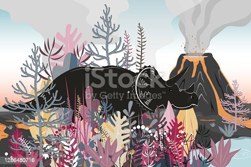 Triceratops dinosaurs walk through a forested area to the lake. Volcano landscape background. Vector illustration