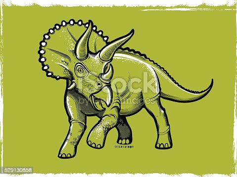 Vector illustration of dinosaur triceratops