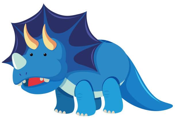 triceratops mit drei hörner - eiszeit stock-grafiken, -clipart, -cartoons und -symbole
