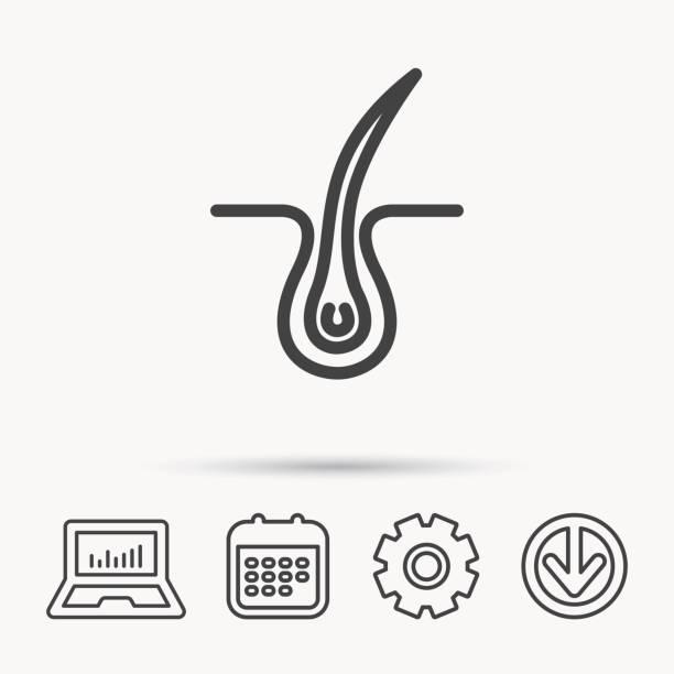 ilustraciones, imágenes clip art, dibujos animados e iconos de stock de trichology icono de la piel. dermatología señal de cabello. - dermatología