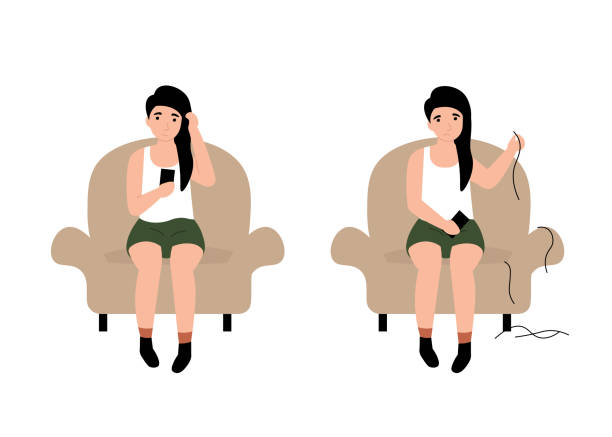 ilustrações de stock, clip art, desenhos animados e ícones de trichotillomania, hair pul... baldness concept girl - puxar cabelos