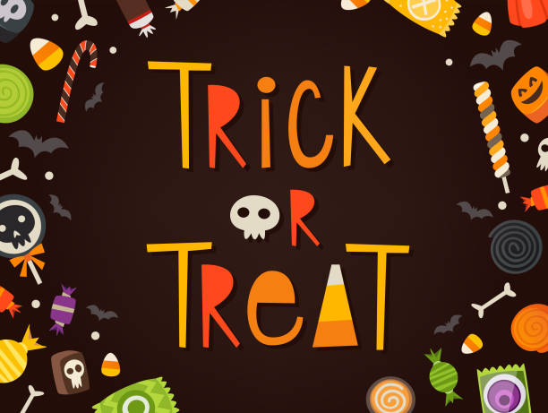 trick or treat card - halloween candy stock illustrations
