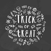 Trick or treat. Chalk illustration.