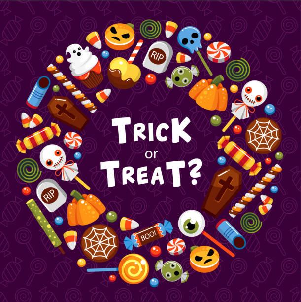 技巧或處理圓框平面向量範本 - halloween candy 幅插畫檔、美工圖案、卡通及圖標