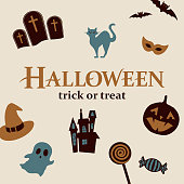 Halloween icons and symbols, graphic elements included witch's hat, jack o' lantern, black cat, candy, bat, pumpkin, ghost, eye mask, cemetery, haunted house.