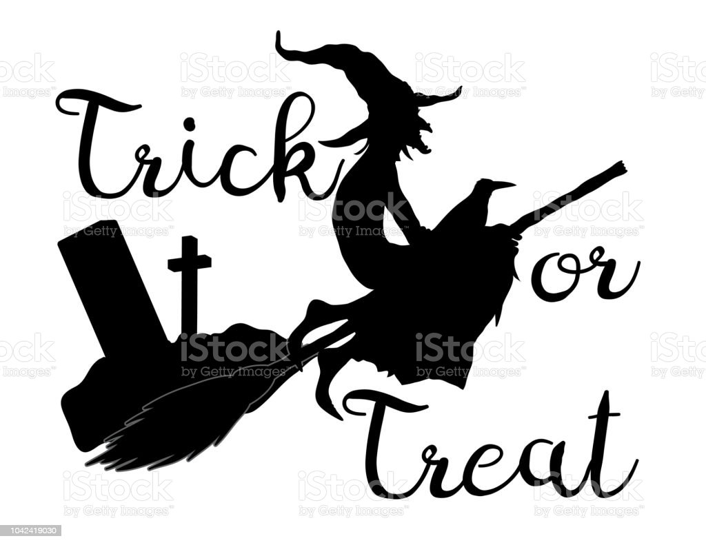 Trick or treat halloween background with flying witch vector art illustration
