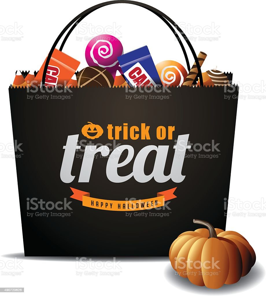 Trick or Treat Halloween bag isolated vector art illustration