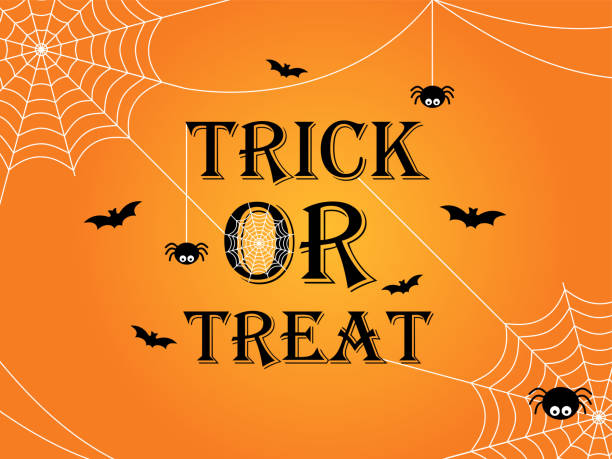 trick or treat halloween banner template background - halloween stock illustrations, clip art, cartoons, & icons