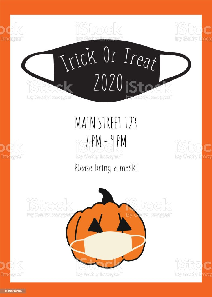 Halloween 2020 Poster Download Trick Or Treat Halloween Postcard Design Pumpkin And Face Mask