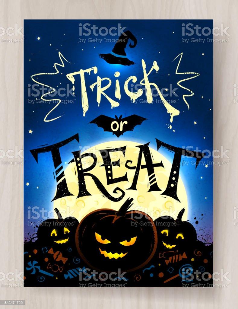Trick Oder Behandeln Halloween Postkartendesign Vektor Illustration ...