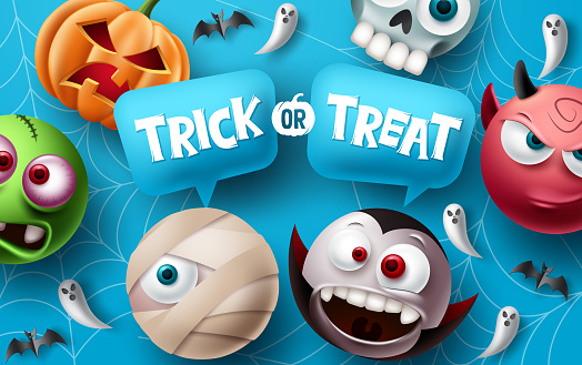 Trick or treat halloween vector design. Halloween character elements with trick or treat typography text