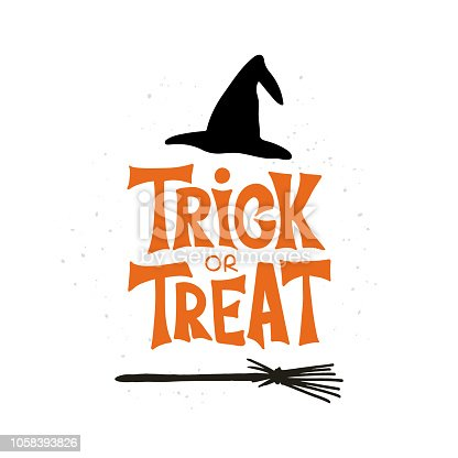 Trick or Treat - celebration lettering typography. Halloween poster with witch hat and broom. Design for greeting card, party invitation, banner, postcard. Vector illustration.