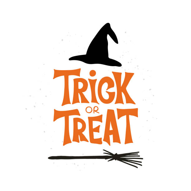 trick or treat hand drawn lettering typography - halloween candy stock illustrations