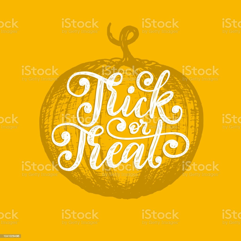 Trick Or Treat Hand Lettering For Halloween Vector Drawn