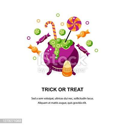 istock Trick or treat. Happy Halloween card. 1273271053