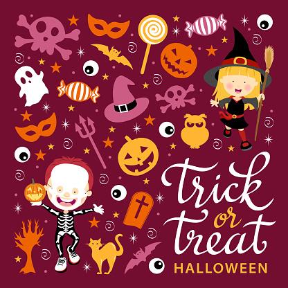 Trick or Treat Kids & Icon Set