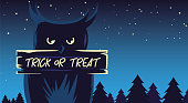 trick or treat label with owl in the dark night of halloween vector illustration design