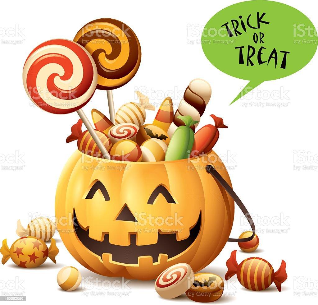 Trick or Treat - Pumpkin Basket vector art illustration