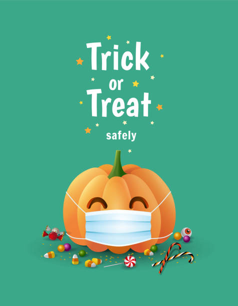 Trick or Treat safely. Halloween during pancemic cute illustration with pumpkin wearing face mask for protection from coronavirus and sweets. - Vector Trick or Treat safely. Halloween during pancemic cute illustration with pumpkin wearing face mask for protection from coronavirus and sweets on green background. - Vector halloween covid stock illustrations
