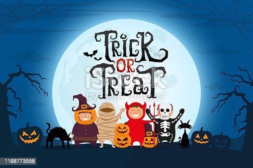 Trick or Treat scary text with kids in Halloween costume on spooky night landscape under moonlight. Vector illustration.