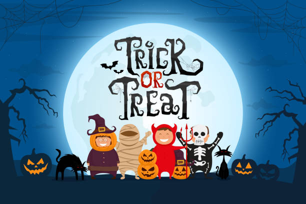 illustrazioni stock, clip art, cartoni animati e icone di tendenza di trick or treat testo spaventoso con i bambini in costume di halloween sul paesaggio notte spettrale sotto la luce della luna. - halloween