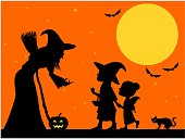 Trick or treat silhouette