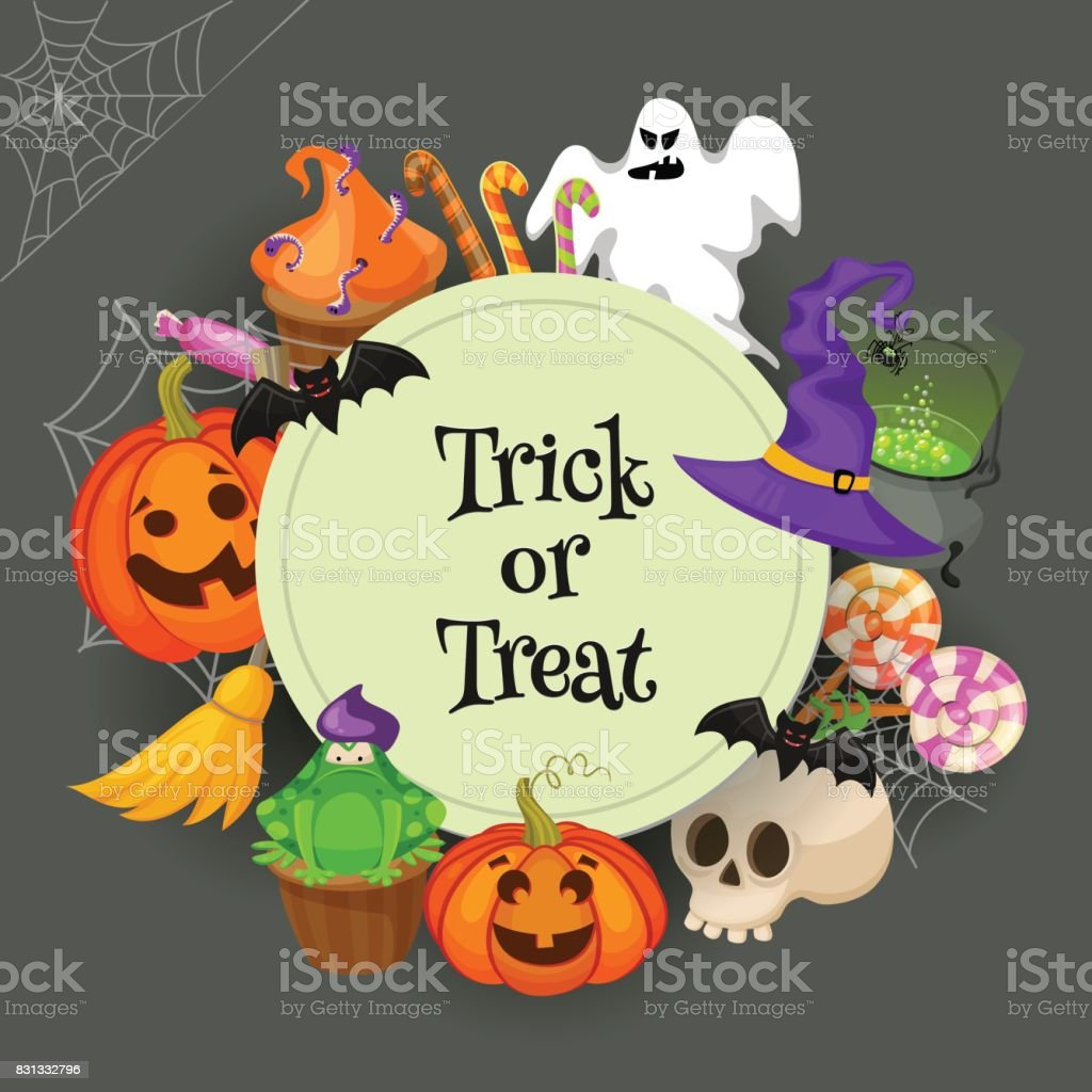 Trick or Treat. Traditional sweets and candies for holiday Halloween....