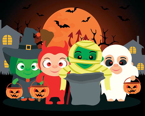 Trick or Treat ,vector Halloween background with kids