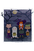 Illustration of group of children with Halloween costumes, a girl dressed as a witch, a vampire girl, a ghost boy and another boy from Frankenstein, as well as a black cat, all with a purse asking for candy, and a scenario that represents a graveyard.