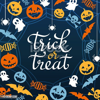 The decoration elements for the night party of Halloween on the spider web backgrounds