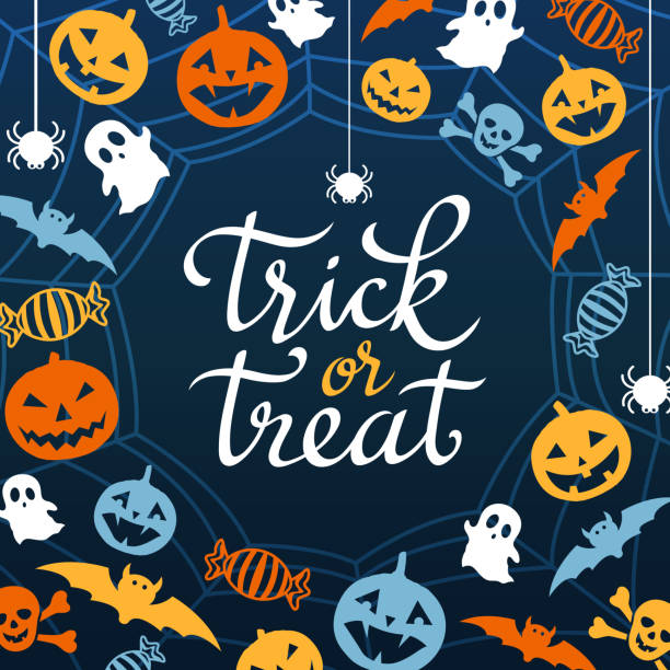 Trick or Treat The decoration elements for the night party of Halloween on the spider web backgrounds ghost icon stock illustrations