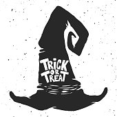 Trick or treat. Witch hat with lettering. Halloween theme.