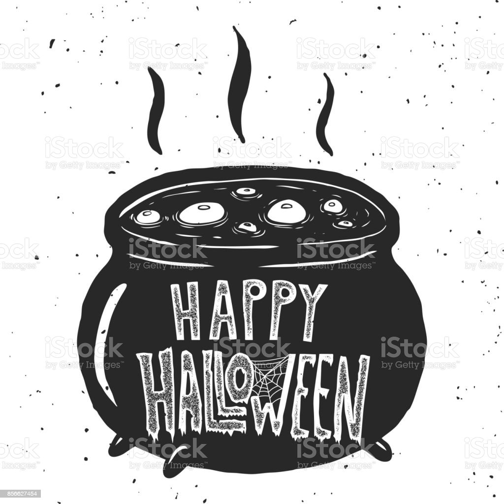Trick or treat. Witch kettle illustration on white background. vector art illustration