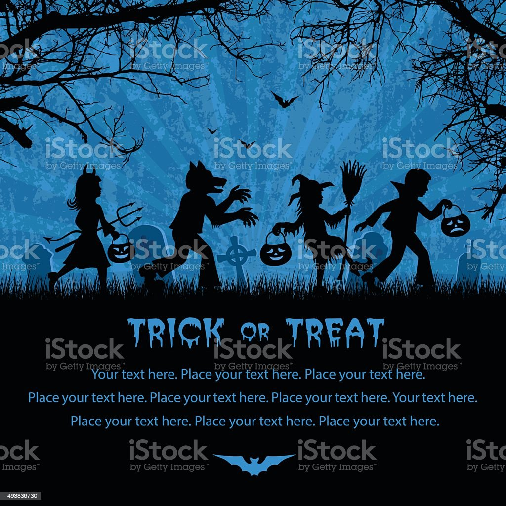 Trick Or Treaters vector art illustration