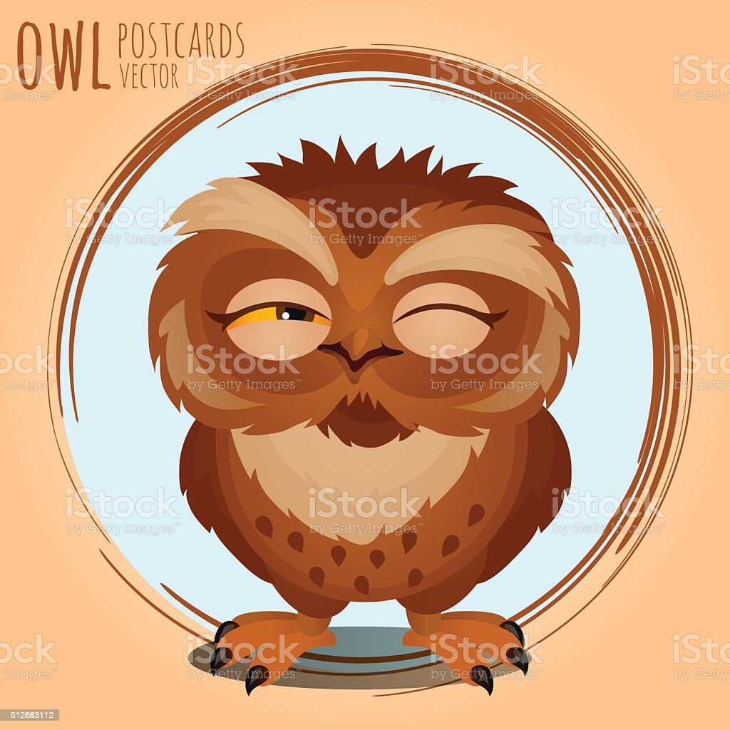 Tricky brown owl, cartoon series vector art illustration