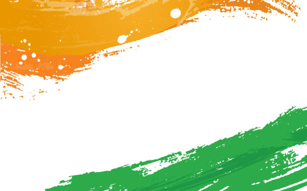 tricolor brush stroke indian independence day celebration backgound paint brush stroke independence day holiday stock illustrations