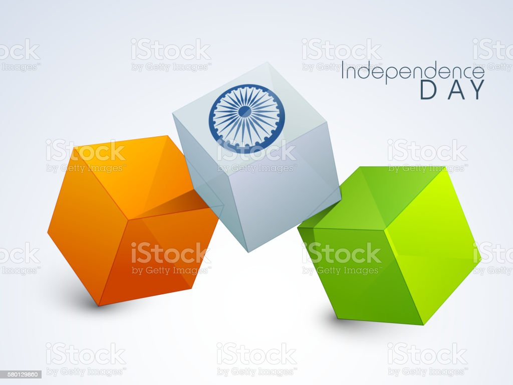 3D Tricolor Cubes for Indian Independence Day. vector art illustration