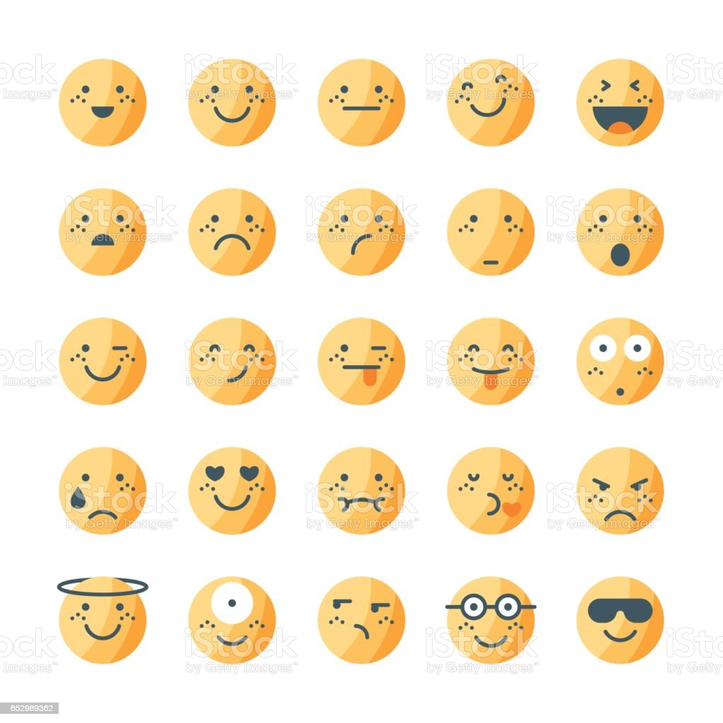 Tricolor emoticons collection set 1 vector art illustration