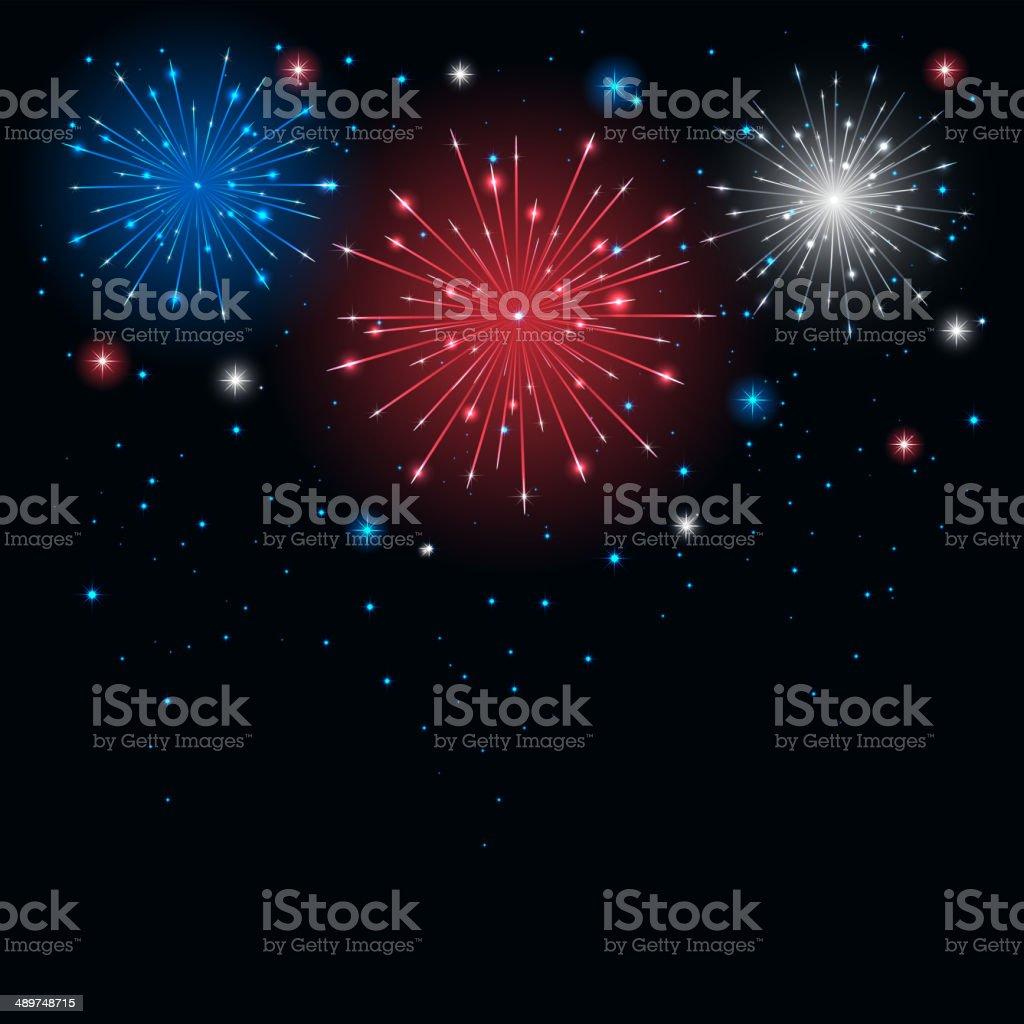 Tricolor firework vector art illustration