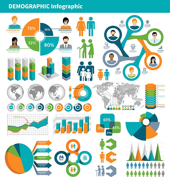 tricolor infographic elements on gray background - demographics infographics stock illustrations, clip art, cartoons, & icons
