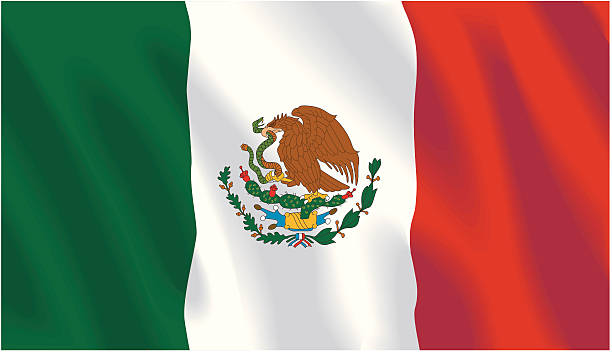Tri-color Mexican flag background vector art illustration
