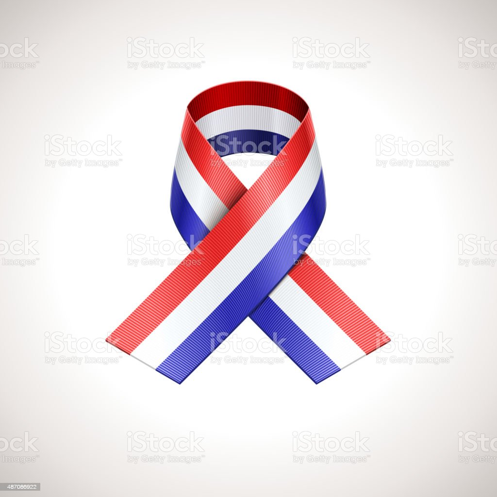 USA Tricolor Ribbon. Vector American Patriotic Sign vector art illustration