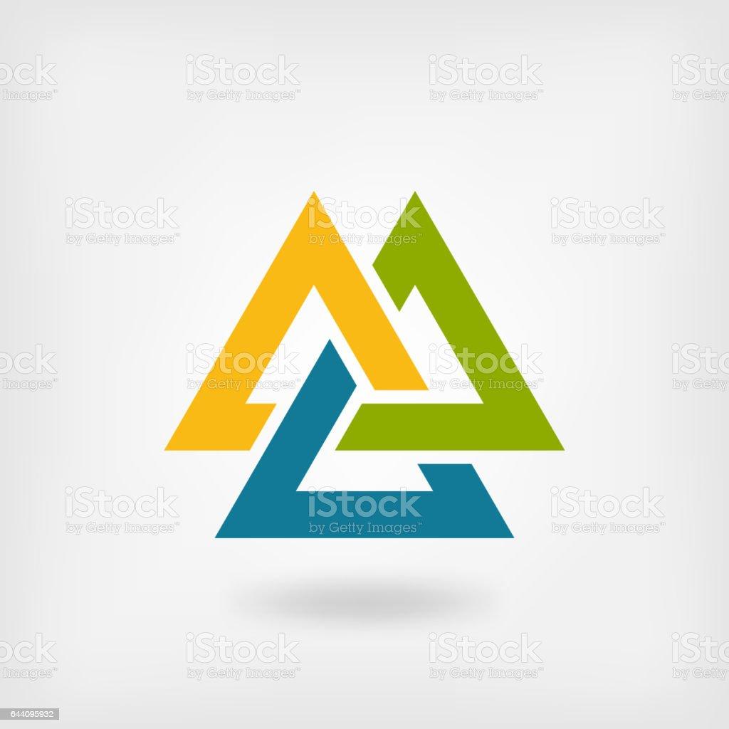 tricolor valknut symbol. interlocked triangles vector art illustration