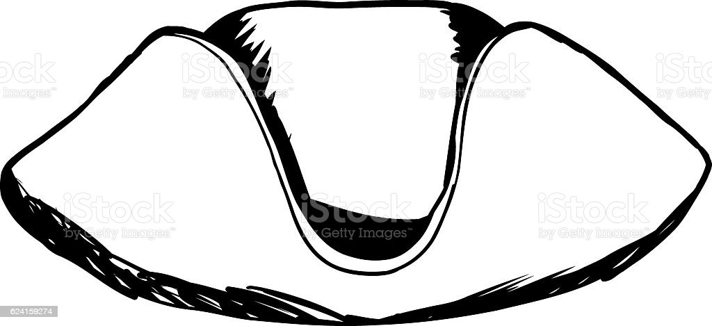 Tricorn Hat As Outline Sketch Stock Vector Art & More Images of 18th ...