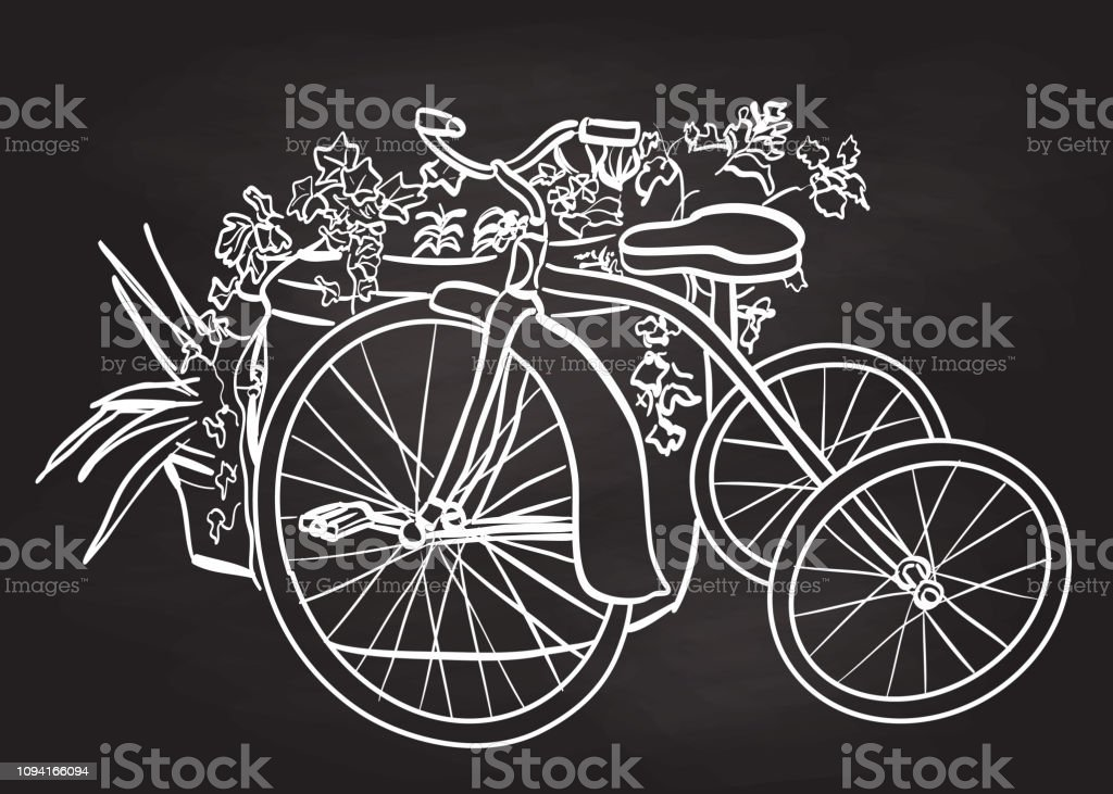Tricycle And Flower Planter Stock Illustration Download Image Now Istock