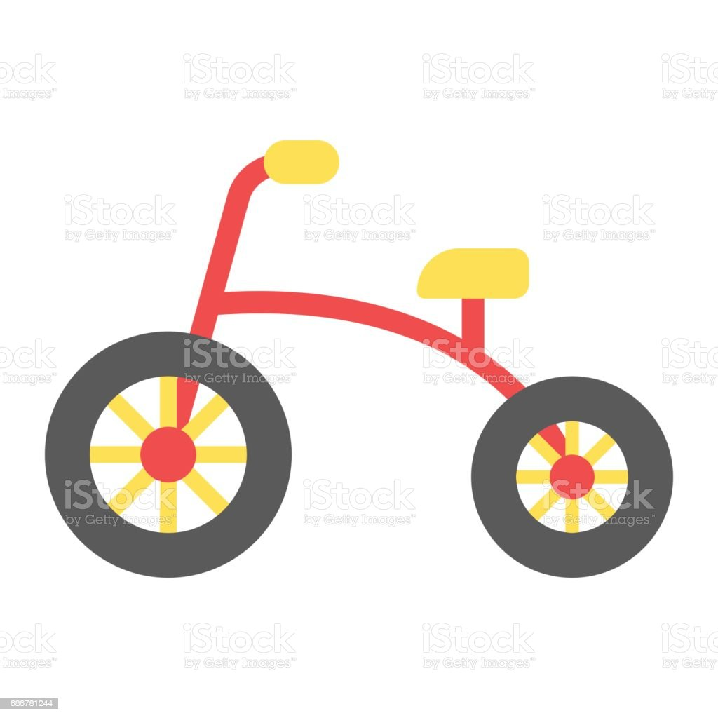 Tricycle flat icon, bike and toy, vector graphics, a colorful solid pattern on a white background, eps 10. vector art illustration