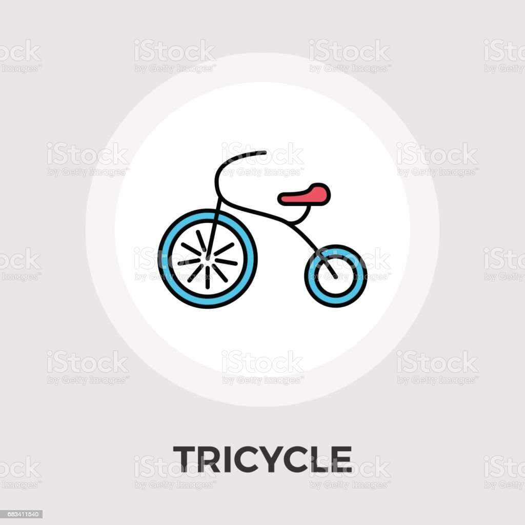 Tricycle flat icon vector art illustration