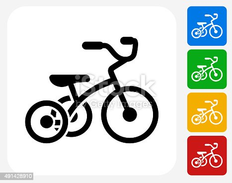 Tricycle Icon. This 100% royalty free vector illustration features the main icon pictured in black inside a white square. The alternative color options in blue, green, yellow and red are on the right of the icon and are arranged in a vertical column.