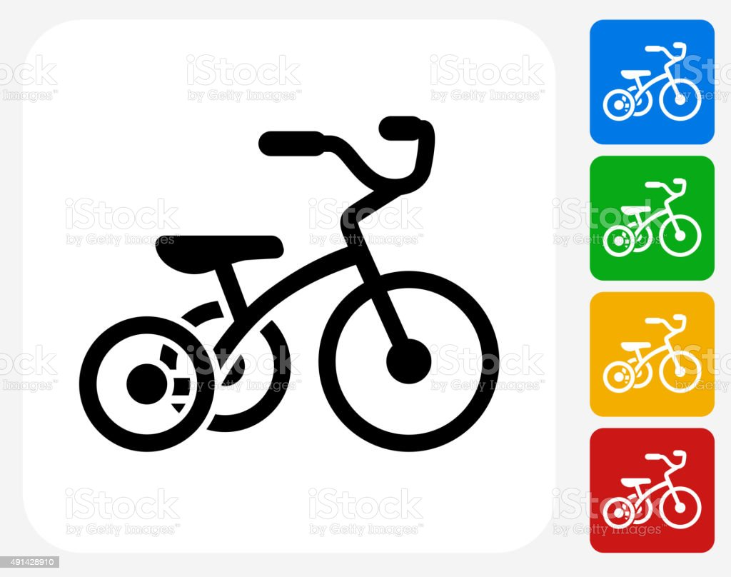 Tricycle Icon Flat Graphic Design vector art illustration